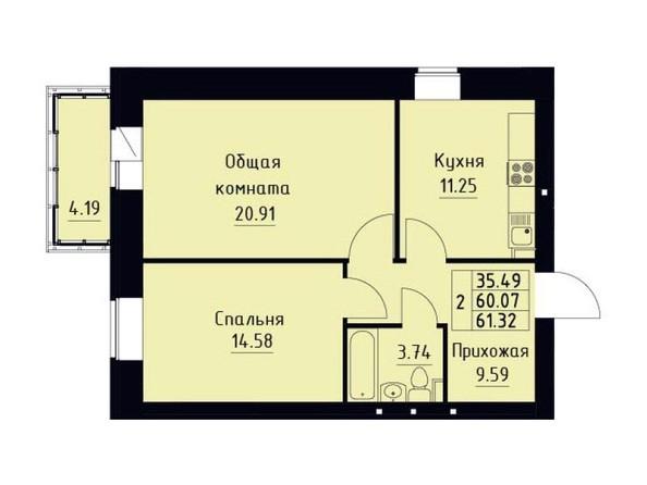 Планировка 2-комн 61,32 м²