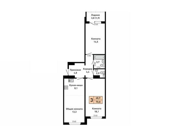 Планировка 3-комн 0, 70,8 м²