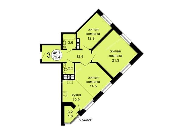 Планировки Жилой комплекс НОВАЯ ПАНОРАМА , дом 3 - Планировка трехкомнатной квартиры 79,4 кв.м