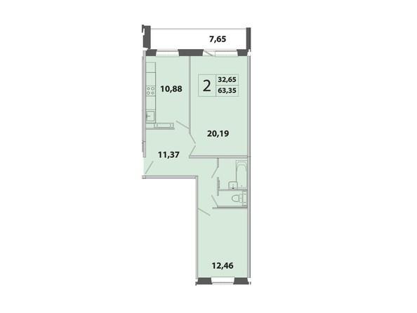 2-комнатная 65.35 кв.м