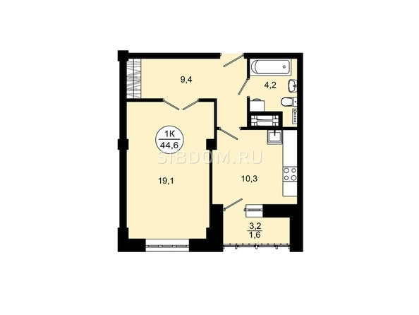 Планировки Жилой комплекс ВЕРШИНА - 1-комнатная 44,6 кв.м