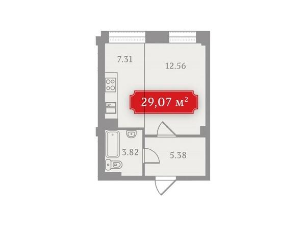 Планировки Жилой комплекс УСПЕНСКИЙ-3, б/с 2 - Планировка однокомнатной квартиры 29,07 кв.м