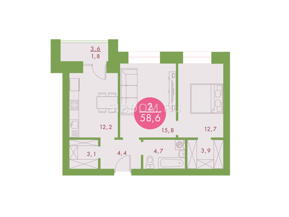 2-комнатная 58,6 кв.м