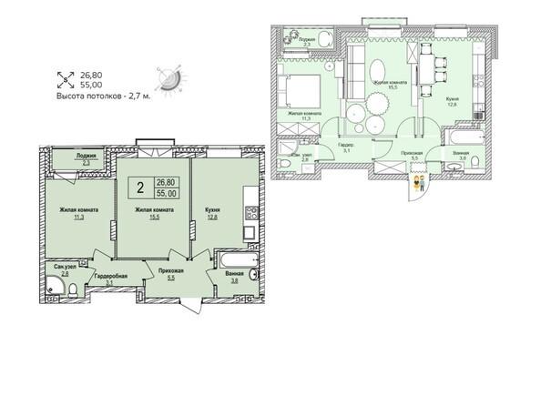 Планировки Жилой комплекс ЭВОЛЮЦИЯ, 1 оч, дом 3 - Планировка двухкомнатной квартиры 55 кв.м