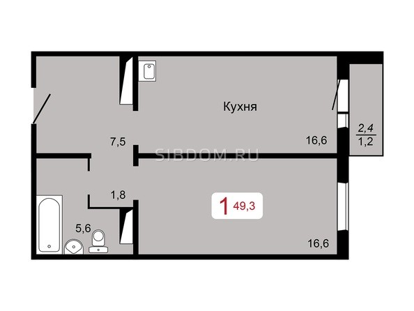 1-комнатная 49,3 кв.м