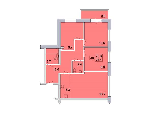 Планировка 4-комн 74,09, 74,1 м²