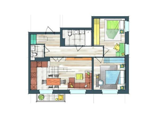 Планировки Жилой комплекс ПРЕОБРАЖЕНСКИЙ, дом 22, этап 2 - Планировка трехкомнатной квартиры 71,8 кв.м