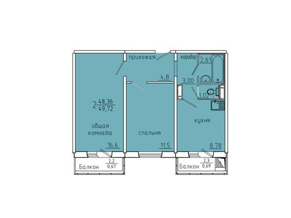 Планировки Жилой комплекс Иннокентьевский, 3 мкр, дом 6 - Планировка двухкомнатной квартиры 49,72 кв.м