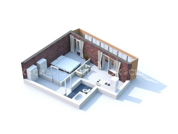 Планировки Жилой комплекс ГЛОБУС, дом 8 - 3d-макет двухкомнатной квартиры 48,68 кв.м