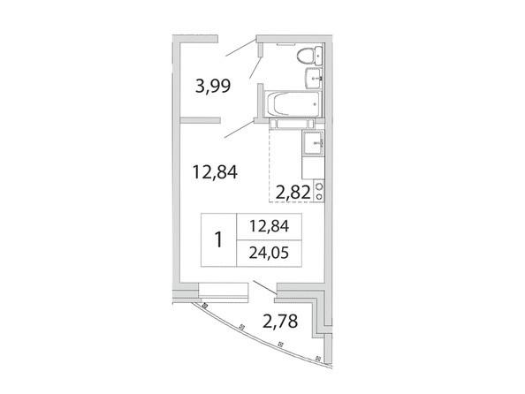 Планировка 1-комн 24,05 м²