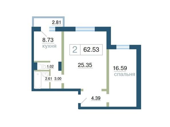 Планировка 2-комн 62,53, 62,58 м²