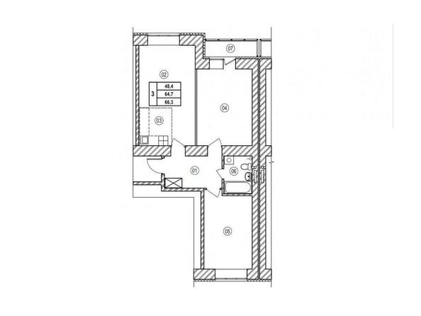 Планировки Жилой комплекс ВЕРХНИЙ БУЛЬВАР, 7 дом, б/с а,б,в - Планировка трёхкомнатной квартиры 66,3 кв.м