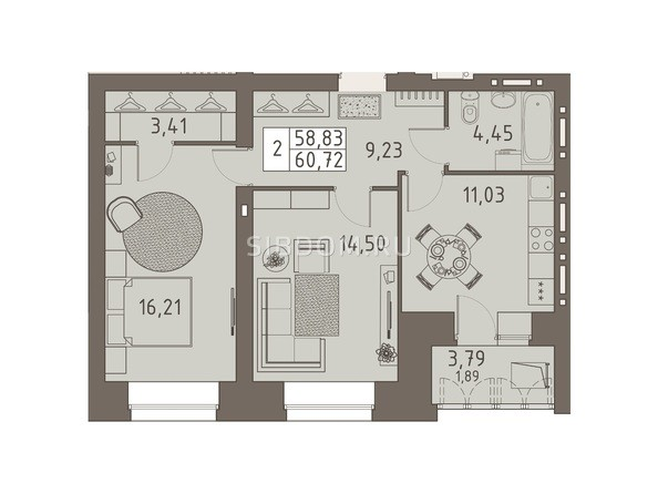 Планировки ВАВИЛОВСКИЙ ДВОРИК - 2-комнатная 60,72 кв.м