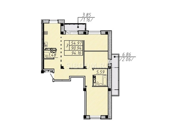 3-комнатная 94,16 кв.м