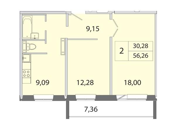 2-комнатная 56.26 кв.м
