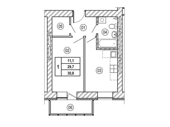Планировки ВЕРХНИЙ БУЛЬВАР, дом 3, б/с «В», «Г» - Планировка однокомнатной квартиры 30,8 кв.м
