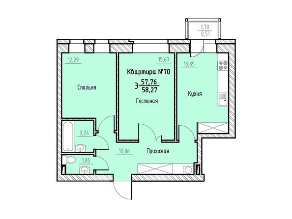Планировка 3-комн 58,27 м²