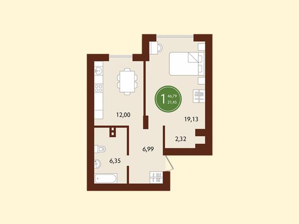 Планировки СОСНОВЫЙ БОР, 1 корпус - 1-комнатная 46,79 кв.м