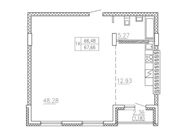 1-комнатная 66.48 - 68.13 кв.м