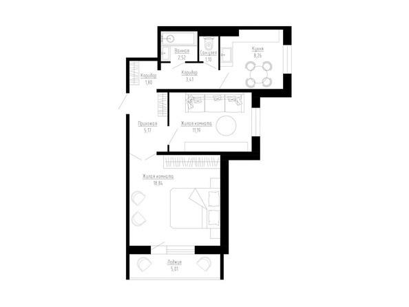 2-комнатная 55 кв.м