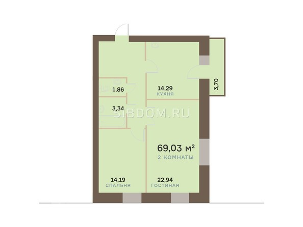 Планировки Жилой комплекс ЮЖНЫЙ БЕРЕГ, дом 17 - Планировка двухкомнатной квартиры 70,14 кв.м
