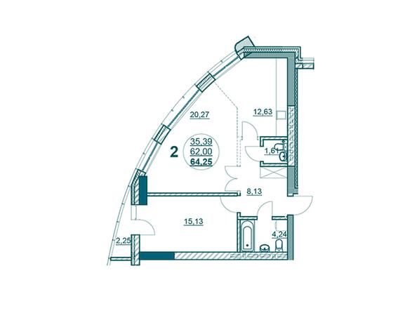 Планировки Жилой комплекс ФЛОТИЛИЯ - 2-комнатная 64,25 кв.м блок Б