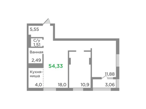 Планировки Жилой комплекс ЯСНЫЙ БЕРЕГ, дом 12 - Планировка трехкомнатной квартиры 54,33 кв.м