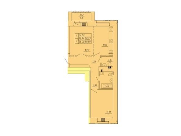 Планировка 2-комн 56,94 - 59,99 м²