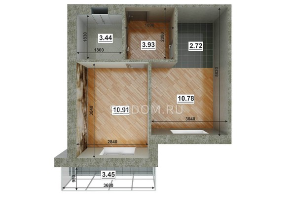 Планировки ЮГО-ЗАПАДНЫЙ, б/с 8-10 - Планировка двухкомнатной квартиры 32,67 кв.м