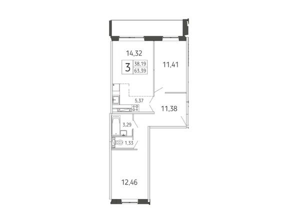 3-комнатная 63.39 кв.м