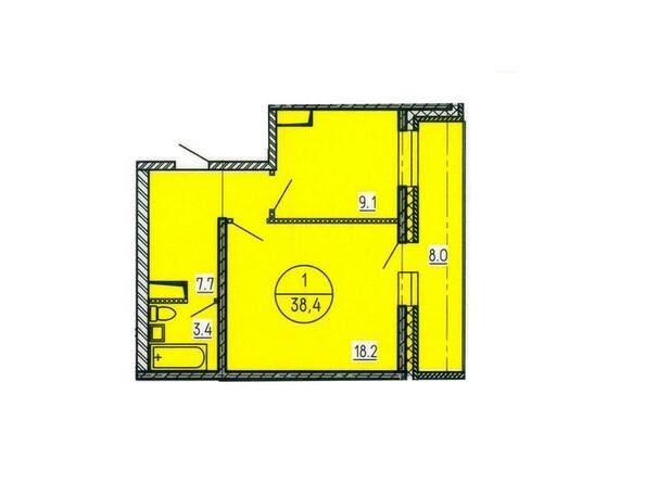 Планировка однокомнатной квартиры 38,4 кв.м