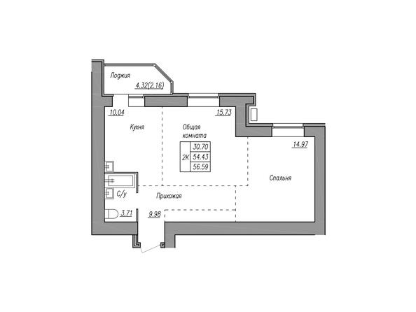 Планировки МАЯКОВСКИЙ - 2-комнатная 59,65 кв.м.