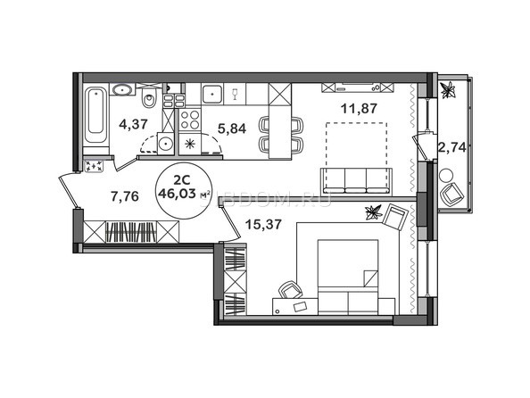 Планировка 2-комн 45,98, 46,03 м²