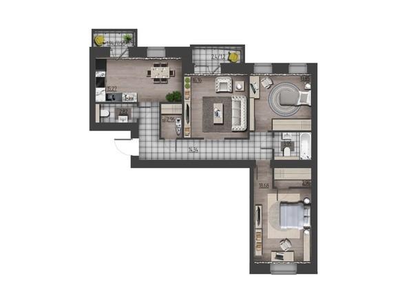 Планировки Жилой комплекс ПРЕОБРАЖЕНСКИЙ, дом 9 - 3-комнатная 92,77 кв.м