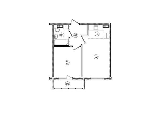 Планировки ВЕРХНИЙ БУЛЬВАР-2, дом 60, корпус 1 - 2-комнатная 39 кв.м