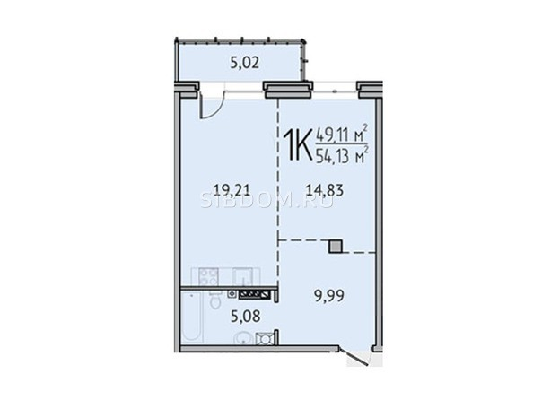 1-комнатная 54,13 кв.м