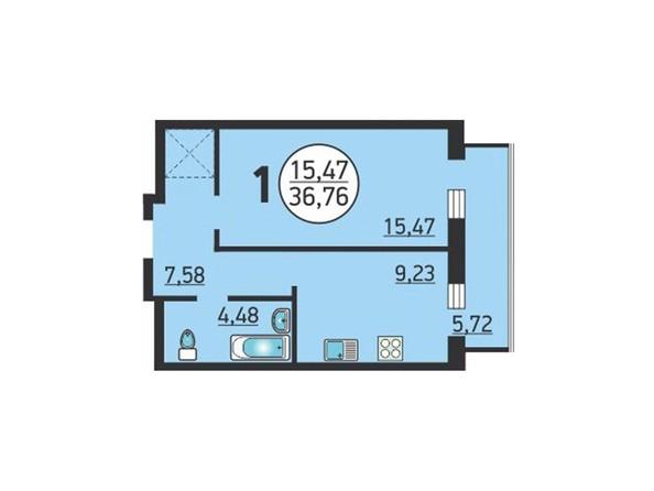 Планировка 1-комн 36,76, 36,98 м²