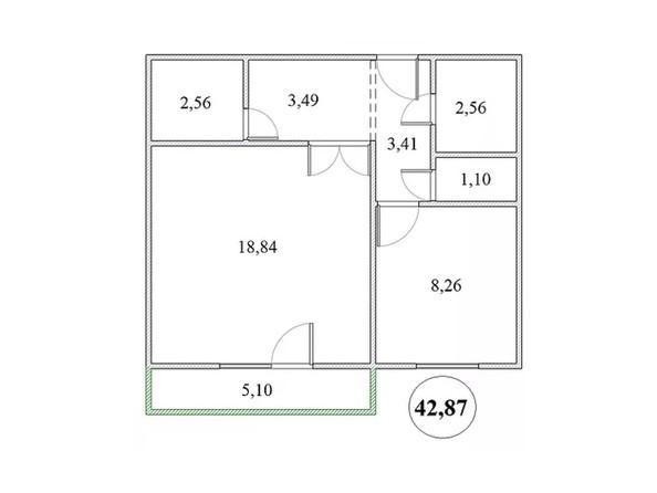 Планировка 1-комнатной квартиры 42,87 кв.м