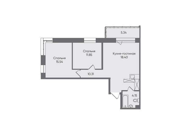 Планировки Жилой комплекс НОВЫЕ ГОРИЗОНТЫ, б/с 1 - Планировка трехкомнатной квартиры 65,59 кв.м
