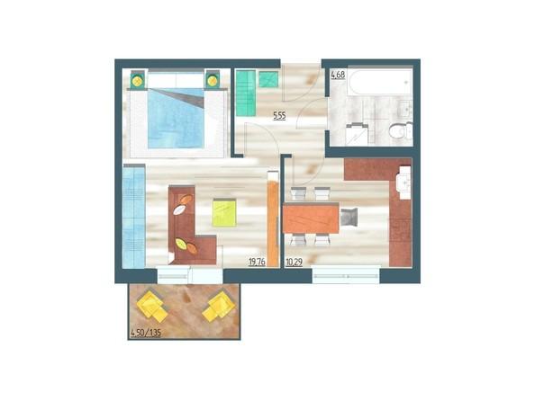 Планировки Жилой комплекс ЖИВЁМ эко-район, 3 квартал, дом 1 - Планировка однокомнатной квартиры 41,63 кв.м