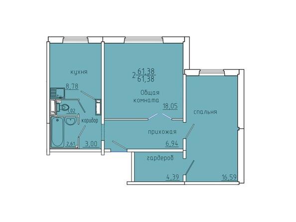 Планировки Иннокентьевский, 3 мкр, дом 6 - Планировка двухкомнатной квартиры 61,38 кв.м