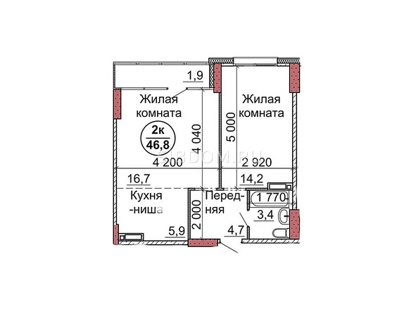 Планировки Жилой комплекс Пролетарская, 165 - Планировка двухкомнатной квартиры 46,8 кв.м