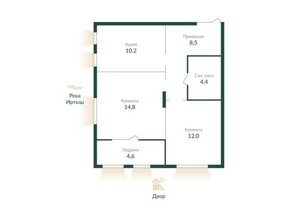 Планировка 2-комн 0 - 55,2 м²