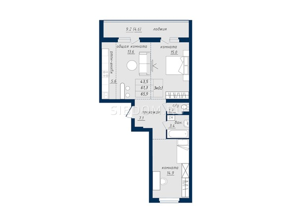 Планировка 3-комн 65,4 - 66 м²
