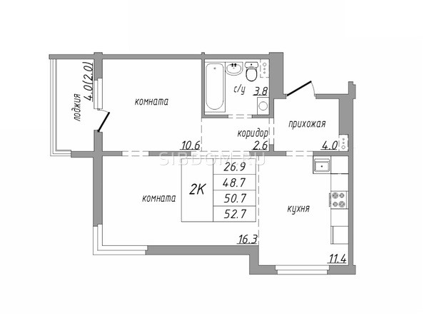 Планировка 2-комн 52,7 м²