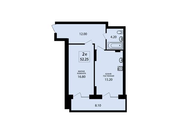 Планировки Жилой комплекс VIVANOVA (Виванова) - Планировка двухкомнатной квартиры 52,25 кв.м