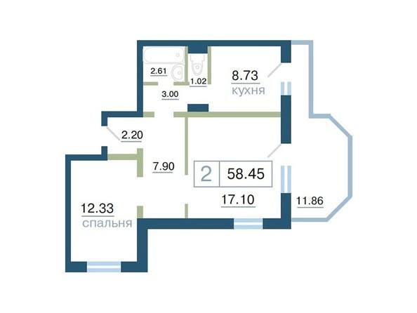 Планировка  58,45, 58,5 м²