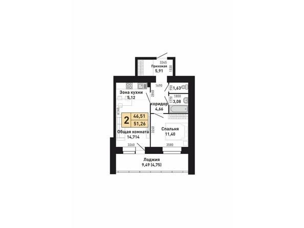 Планировки Жилой комплекс КРАСНООБСКИЙ, дом 230 - Планировка двухкомнатной квартиры 44,51 кв.м