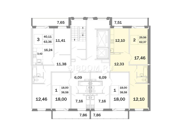 Планировки Жилой комплекс РАДОНЕЖСКИЙ, КПД-11 - Планировка двухкомнатной квартиры 62,37 кв.м