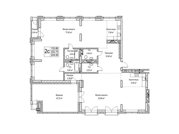 Планировки Жилой комплекс ЯДРИНЦЕВСКИЙ КВАРТАЛ - 2-комнатная студия 222,7 кв.м. Блок-секция 1
